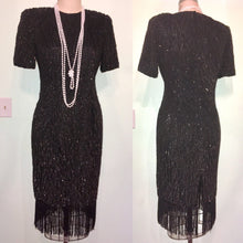 Load image into Gallery viewer, 20s Style Dress Black Sequin Fringe- STENAY- Gatsby 80s does 1920s Flapper Party- Silk Sparkly Glam Short Sleeves Size 10 w31