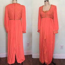 Load image into Gallery viewer, 1960s Genie Costume Harem Fortune Teller Gypsy Belly Dance I dream of Jeanie 60s Orange Jumpsuit Pants size Small waist 26