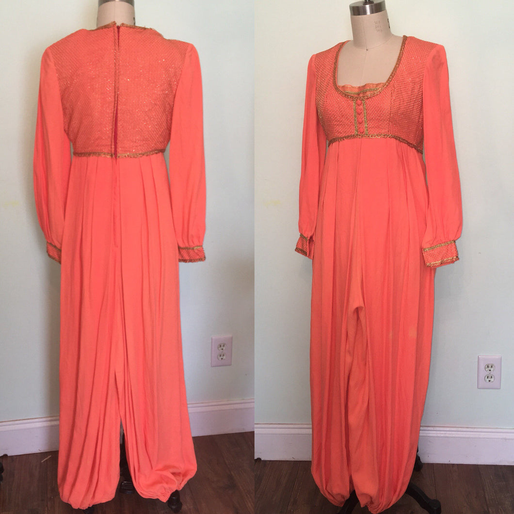 1960s Genie Costume Harem Fortune Teller Gypsy Belly Dance I dream of Jeanie 60s Orange Jumpsuit Pants size Small waist 26