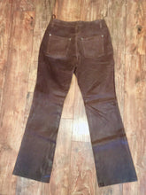 Load image into Gallery viewer, Brown Real Leather Pants Festival Rocker Bootcut Flared Jeans Button fly 90s does 60s 70s size boho Hippie Woodstock Size 8 waist 30