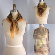 Load image into Gallery viewer, 60s 70s sheer Orange Brown Green  Scarf neck Hair Tie