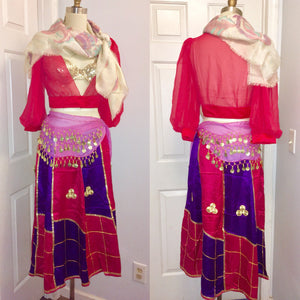 Fortune Teller Peasant Gypsy Costume belly dancer Sequin Bra blouse skirt coin belt halloween Full Outfit Size Medium