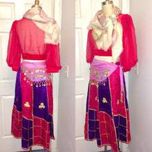 Load image into Gallery viewer, Fortune Teller Peasant Gypsy Costume belly dancer Sequin Bra blouse skirt coin belt halloween Full Outfit Size Medium