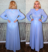 Load image into Gallery viewer, 70s does 40s Flowy Full Length Gown Crepe Long Sleeves Drape Cowl Neckline Belt Size Large 12