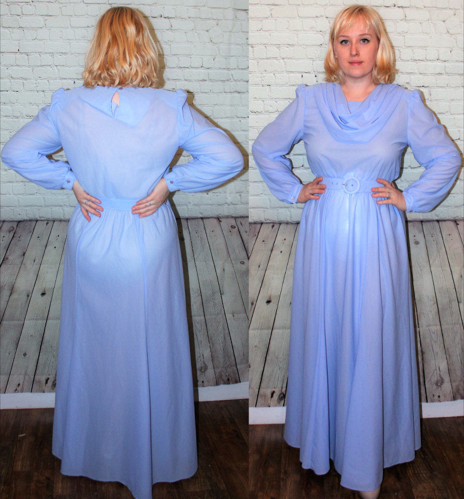 70s does 40s Flowy Full Length Gown Crepe Long Sleeves Drape Cowl Neckline Belt Size Large 12