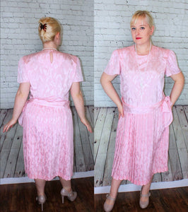 Pink 1980s does 20s Flapper Gatsby Tea Party Dress Pink Satin Size Large XL 14 12