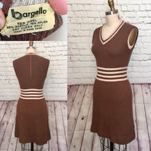 Load image into Gallery viewer, 70s Sweater Dress Vest Jumper Pinafore Mocha Brown Ivory stripe wool size small