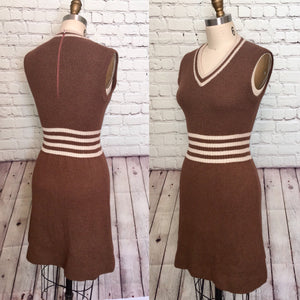 70s Sweater Dress Vest Jumper Pinafore Mocha Brown Ivory stripe wool size small