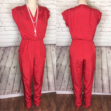 Load image into Gallery viewer, 80s does 50s Valentines Red Jumpsuit, 1950s style Wrap Front pleated front cropped tapered pockets pant size 11