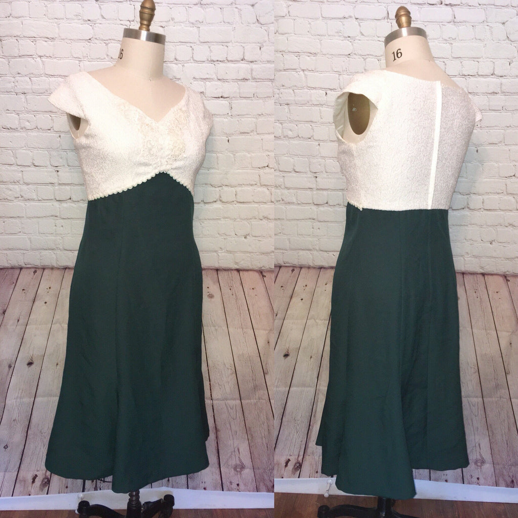 90s Ivory Hunter Green Dress Cap Sleeve Mermaid Wiggle beaded sequin Size Large XL Plus