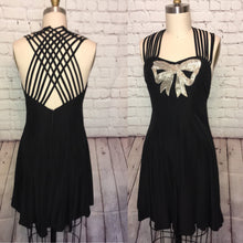 Load image into Gallery viewer, 80s 90s Strappy Mini Dress Princess Cage Mini Flared Sequin Bow  black Silver Size Small W28