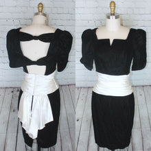 Load image into Gallery viewer, 1980s black Dress Velvet Ivory Cream Satin pencil Mini skirt drop waist short sleeve Party dress Jessica McClintock size small w26.5