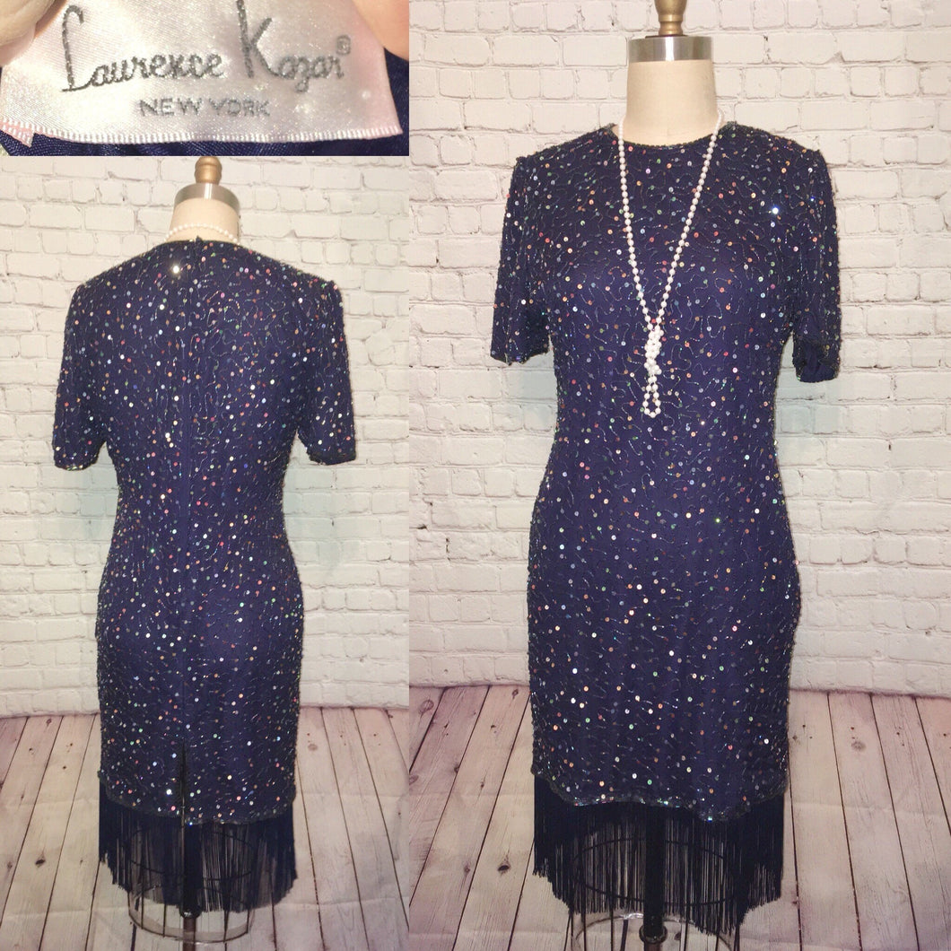 Beaded Flapper Dress Navy Blue sequin fringe dress silk - Laurence Lazar- Gatsby 80s 1980s does 1920s 20s style Medium W34