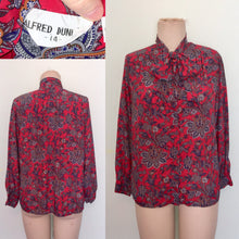 Load image into Gallery viewer, 1980s Blouse shirt Top Secretary 80s Paisley Print Pussy bow neck long sleeves size 14