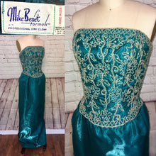 Load image into Gallery viewer, 80s does 50s Teal Formal Prom Dress Evening Gown Beaded Rhinestone Strapless Pencil Skirt Size Small W25