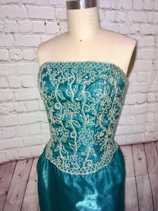 80s does 50s Teal Formal Prom Dress Evening Gown Beaded Rhinestone Strapless Pencil Skirt Size Small W25