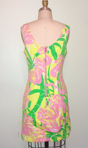 Classic LILLY PULITZER- 60s Style Mini Gogo Dress- Floral Novelty Print Green Pink - Small 2