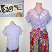 Load image into Gallery viewer, 90s Western denim shirt embroidered cut out floral patchwork Short Sleeve button front loose fit oversized size M