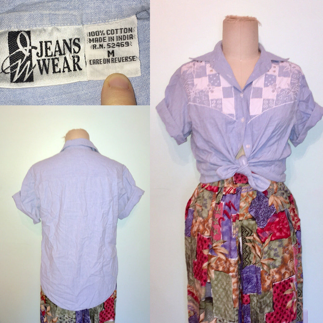 90s Western denim shirt embroidered cut out floral patchwork Short Sleeve button front loose fit oversized size M