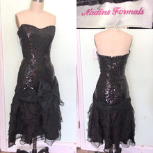 Load image into Gallery viewer, Nadine Black Strapless Bombshell Gown 80s does 50s wiggle Drop Waist Ruffle Bow Sweetheart Waist27