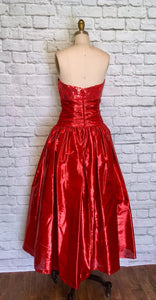 Red Sequin Lame Bombshell Gown 80s does 50s Ballgown Valentines Dress Full Length Strapless Sweetheart size small W27
