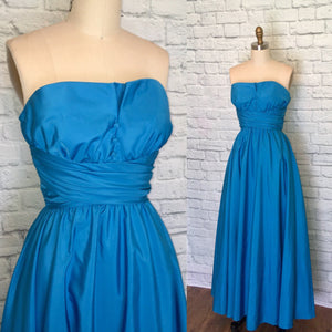 Mike Benet Vintage Dress 1980s Teal Aqua Blue 1950s style 80s Formal Prom Party Dress Strapless Maxi Full Length W25