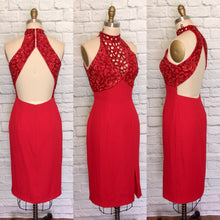 Load image into Gallery viewer, 90s Valentines Bombshell dress beaded Cut Out Body Con wiggle Open Back Halter look cocktail frock Size 6 Small W27