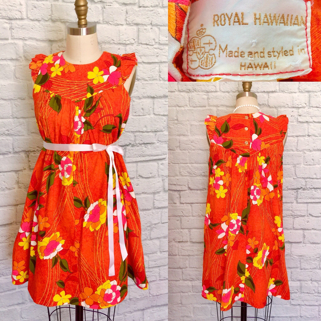 Vintage Dress Orange Floral Hawaiian Mini Dress- Vintage 60s 70s Luau Tiki - Barkcloth-Size medium