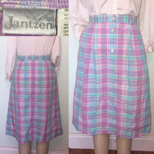 Load image into Gallery viewer, 90s JANTZEN High Waist Midi Skirt Pastel Plaid Easter Button Front Pleated Pocket Skirt Size 12 waist 28 30