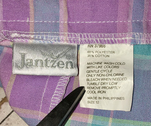 90s JANTZEN High Waist Midi Skirt Pastel Plaid Easter Button Front Pleated Pocket Skirt Size 12 waist 28 30