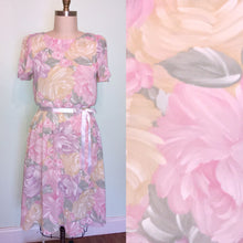 Load image into Gallery viewer, Pastel Floral Dress Pink 80s flutter sleeve Crepe Secretary Easter Large Plus size