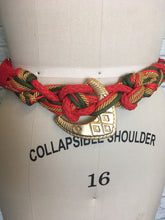 Load image into Gallery viewer, 1980s Vintage Belt 80s Red Gold Twist Rope Wide Statement Belt Gold Accessories Medium Large Plus