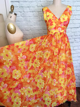 Load image into Gallery viewer, 1960s Mike Benet Flower Power Prom Dress Yellow Orange Pink 60s Floral hawaiian Size m waist 28