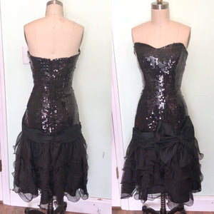 Nadine Black Strapless Bombshell Gown 80s does 50s wiggle Drop Waist Ruffle Bow Sweetheart Waist27