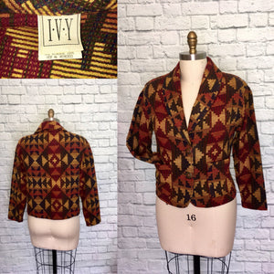 80s 90s Southwestern Western Blanket Jacket Blazer Coat Acrylic Blend Tribal Aztec Oversized Baggy Pockets Size Medium