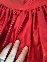 Load image into Gallery viewer, Red Sequin Lame Bombshell Gown 80s does 50s Ballgown Valentines Dress Full Length Strapless Sweetheart size small W27