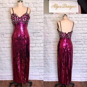 Alyce Designs 80s Glam fuchsia  Pink Formal Prom Dress Evening Gown Sequin Pencil Skirt Front Slit W28