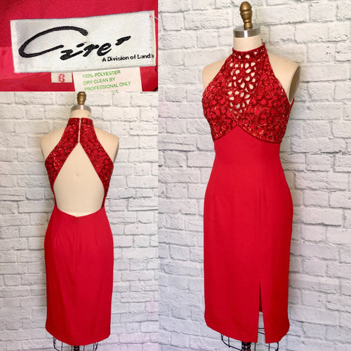 90s Valentines Bombshell dress beaded Cut Out Body Con wiggle Open Back Halter look cocktail frock Size 6 Small W27