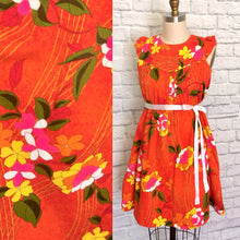 Load image into Gallery viewer, Vintage Dress Orange Floral Hawaiian Mini Dress- Vintage 60s 70s Luau Tiki - Barkcloth-Size medium