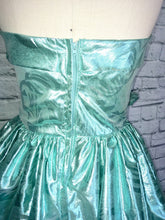 Load image into Gallery viewer, Mint Green Lame Bombshell Gown 80s does 50s Ballgown Southern Belle Full Length Strapless size Medium waist 28