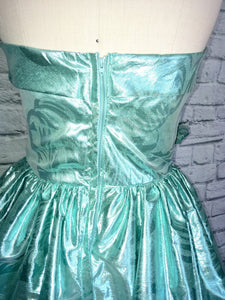 Mint Green Lame Bombshell Gown 80s does 50s Ballgown Southern Belle Full Length Strapless size Medium waist 28