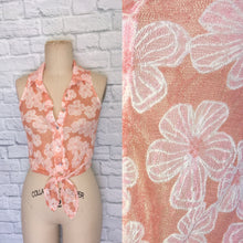 Load image into Gallery viewer, 90s Top Blouse Peach Orange White Floral Stretch Lace Button Down Tank- Tie Front Sleeveless Size S M