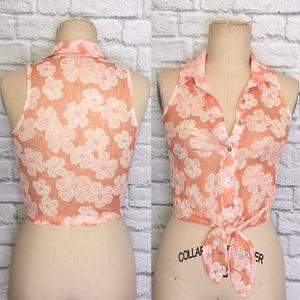 90s Top Blouse Peach Orange White Floral Stretch Lace Button Down Tank- Tie Front Sleeveless Size S M