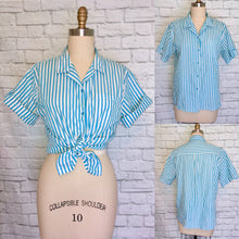 Load image into Gallery viewer, 80s Blue White Stripe Button Down Camp Shirt Summer Preppy Sleeveless Blouse size 12 14 Large