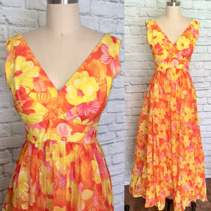 1960s Mike Benet Flower Power Prom Dress Yellow Orange Pink 60s Floral hawaiian Size m waist 28