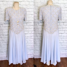 Load image into Gallery viewer, New 90s/80s does 20s Light Blue Chiffon Flapper Dress Gatsby Party Bridal shower reception theater NWT Deadstock XL