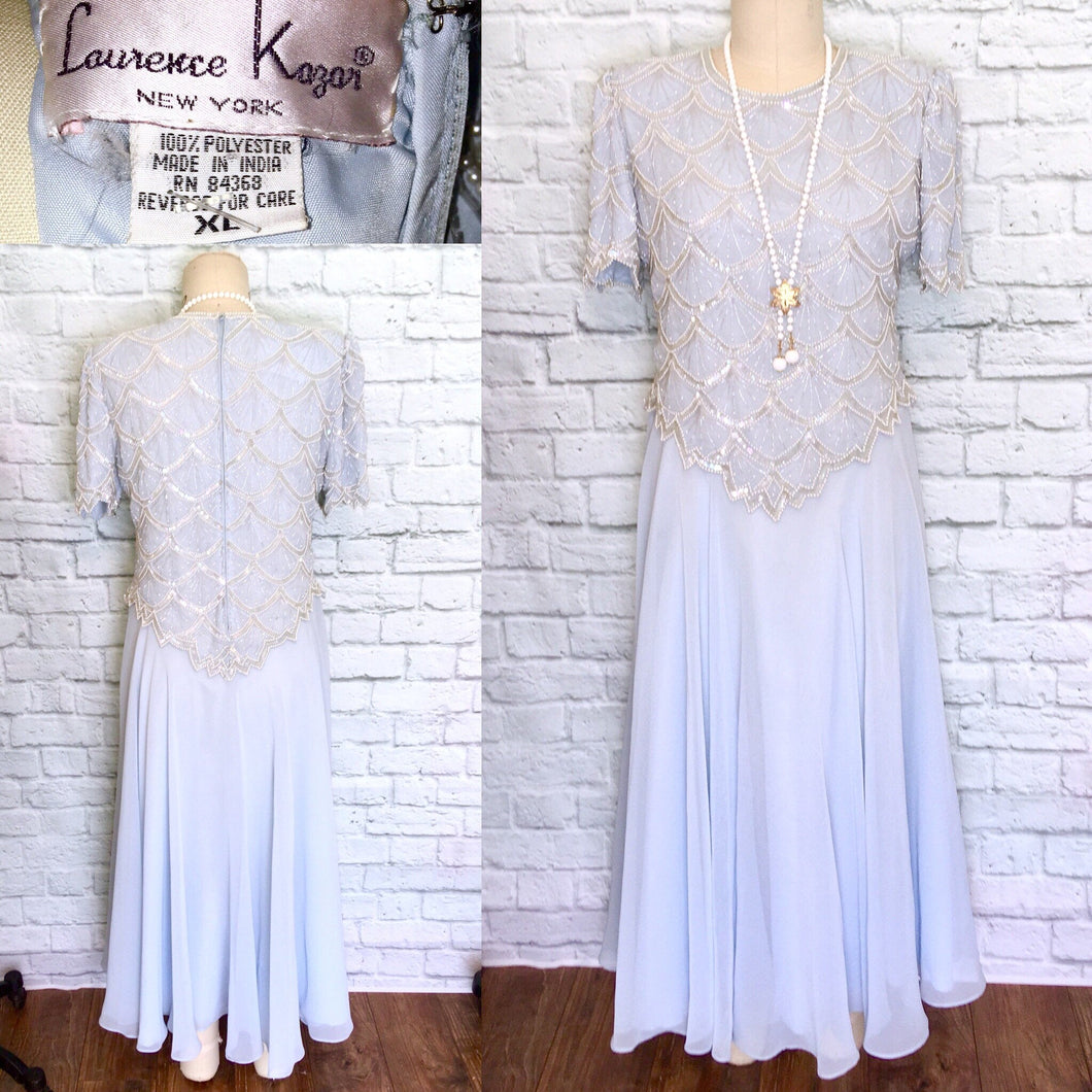 New 90s/80s does 20s Light Blue Chiffon Flapper Dress Gatsby Party Bridal shower reception theater NWT Deadstock XL