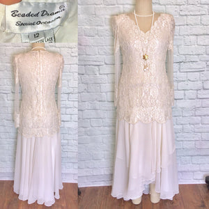 New 80s does 20s Off White Chiffon Drop Waist Pearl Beaded Bridal Flapper Dress Gatsby Party Bridal shower reception Size 12