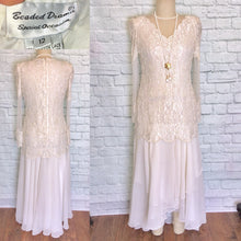 Load image into Gallery viewer, 80s does 20s Off White Chiffon Drop Waist Pearl Beaded Bridal Flapper Dress Gatsby Party Bridal shower reception Size 12 NWOT