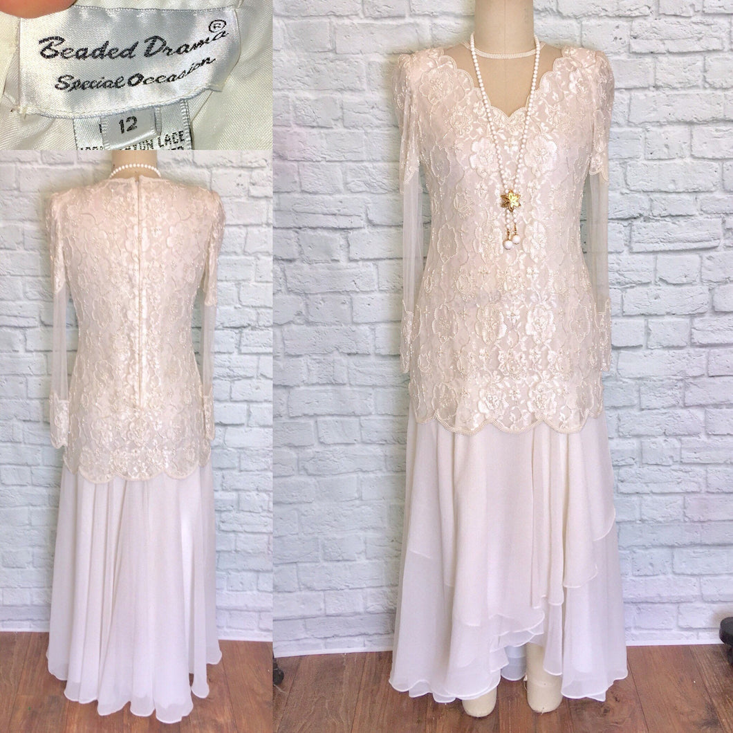 80s does 20s Off White Chiffon Drop Waist Pearl Beaded Bridal Flapper Dress Gatsby Party Bridal shower reception Size 12 NWOT